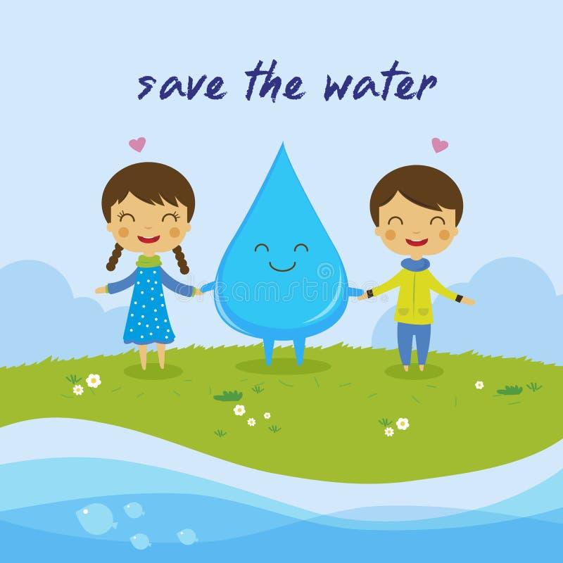 Conservi i acqua risparmi il mondo royalty illustrazione gratis