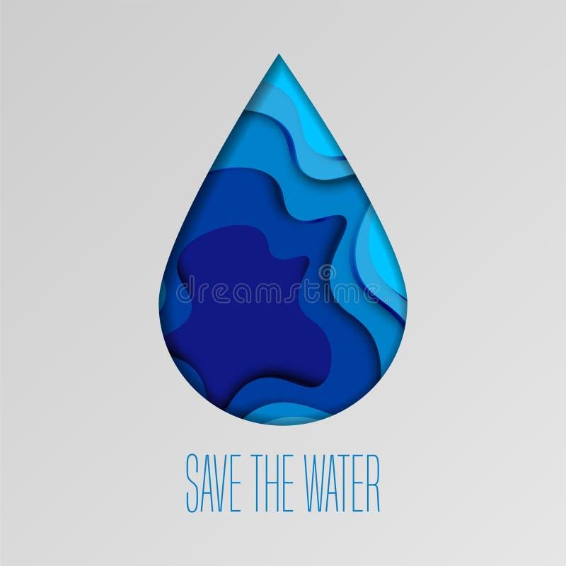 Conservi i precedenti acqua di concetto dell'ecologia con la goccia di acqua del taglio della carta Giorno dell'acqua del mondo - illustrazione di stock