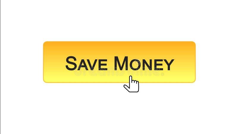 Conservi il bottone dell'interfaccia di web dei soldi cliccato con il cursore del topo, colore arancio, contante royalty illustrazione gratis