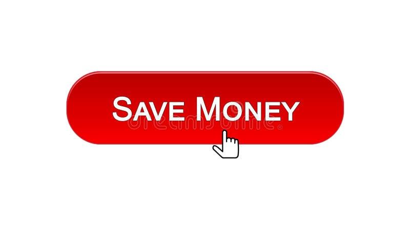 Conservi il bottone dell'interfaccia di web dei soldi cliccato con il cursore del topo, colore rosso, contante illustrazione di stock