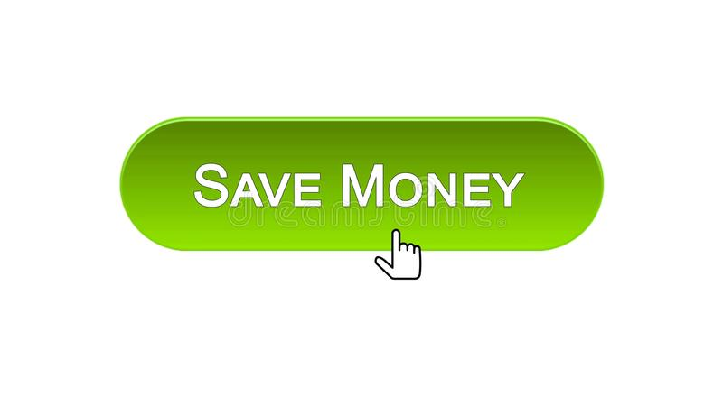 Conservi il bottone dell'interfaccia di web dei soldi cliccato con il cursore del topo, colore verde, contante illustrazione vettoriale