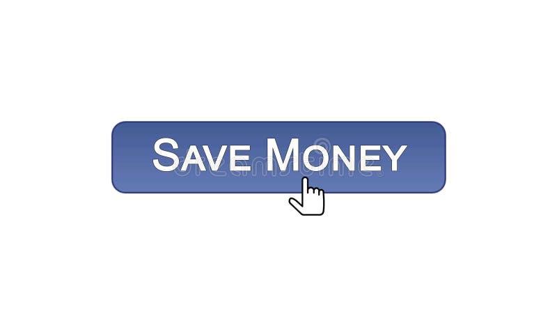 Conservi il bottone dell'interfaccia di web dei soldi cliccato con il cursore del topo, colore viola, contante royalty illustrazione gratis