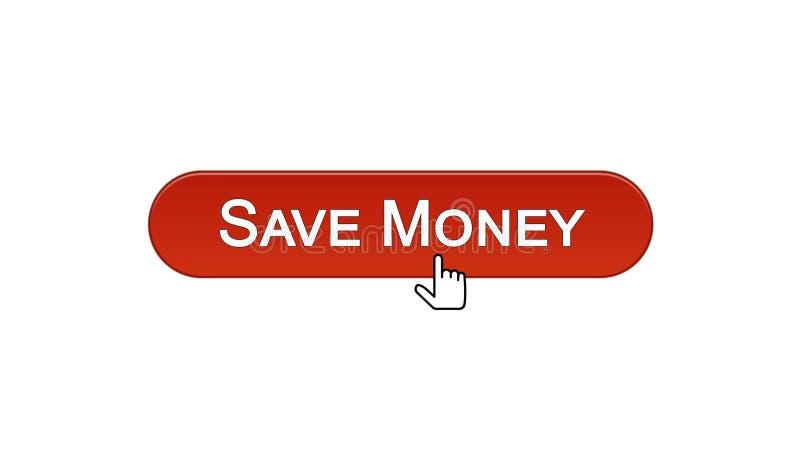 Conservi il bottone dell'interfaccia di web dei soldi cliccato con il cursore del topo, rosso di vino, contante illustrazione vettoriale