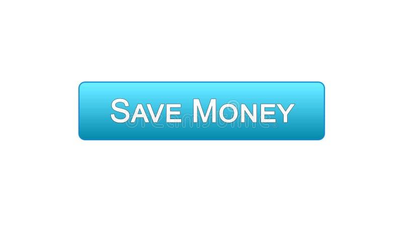 Conservi il colore blu del bottone dell'interfaccia di web dei soldi, il servizio bancario online, il deposito illustrazione di stock