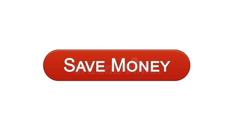Conservi il colore rosso del vino del bottone dell'interfaccia di web dei soldi, il servizio bancario online, il deposito royalty illustrazione gratis