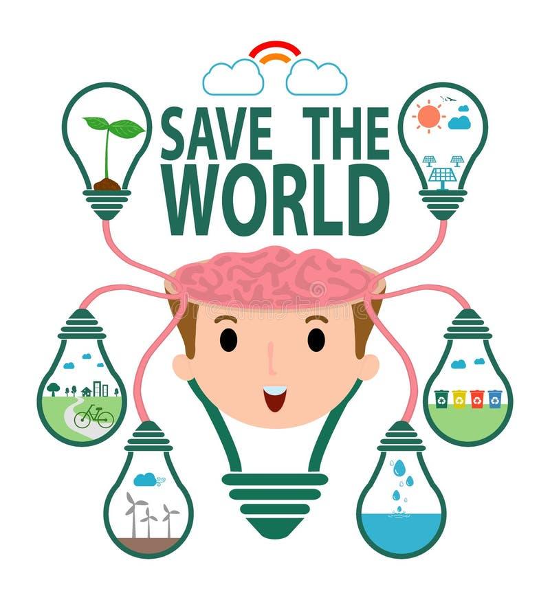 Conservi il concetto del mondo, lampadina di verde di idea dell'ecologia sul cervello, la città verde, l'ambiente, l'ecologia inf illustrazione vettoriale