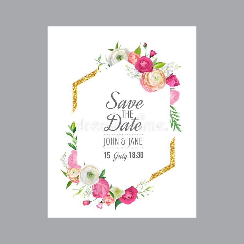 Conservi il modello della carta di data con la struttura di scintillio dell'oro ed i fiori rosa Invito di nozze, accogliente con  royalty illustrazione gratis