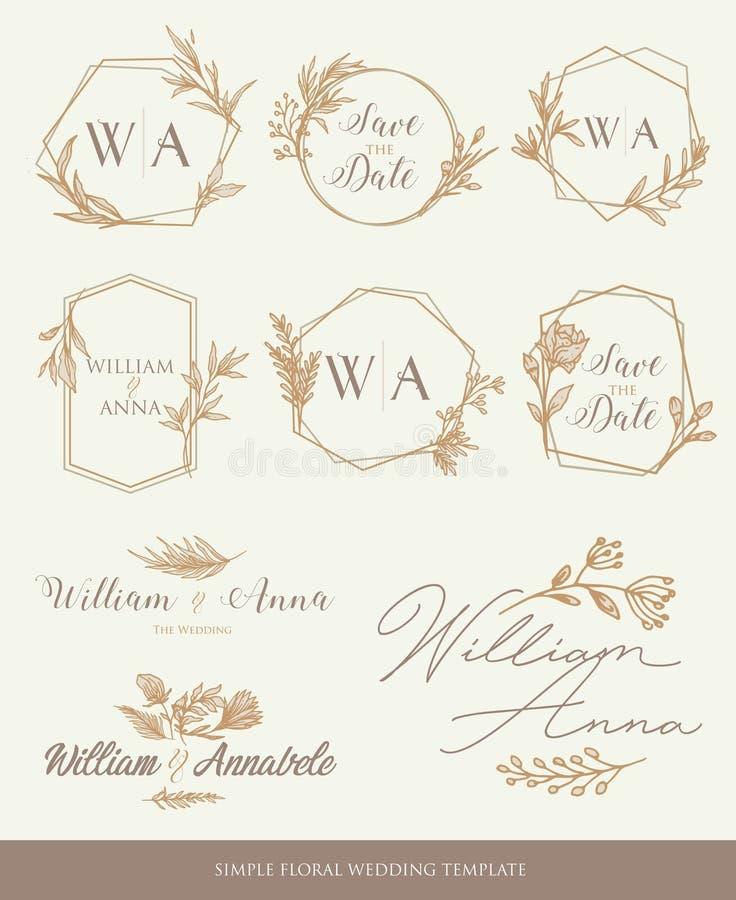 Conservi il modello di nozze della data royalty illustrazione gratis