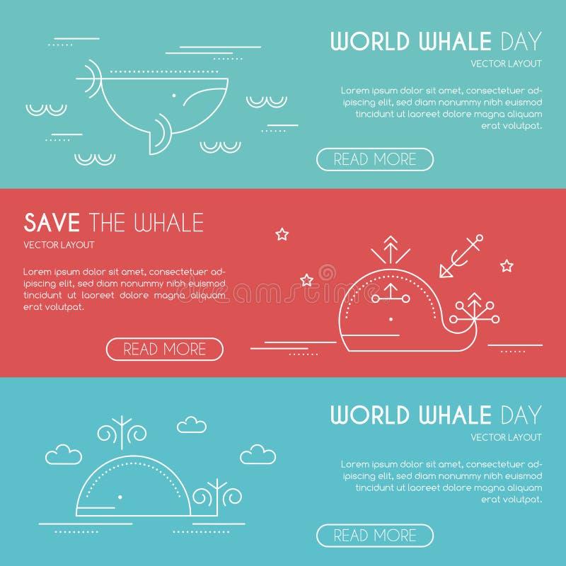 Conservi il modello di progettazione dell'insegna della società della balena, la linea stile sottile royalty illustrazione gratis