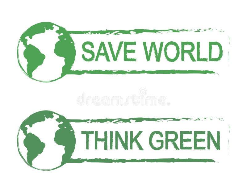 Conservi il mondo pensi il segno verde di vettore con il for Il verde mondo