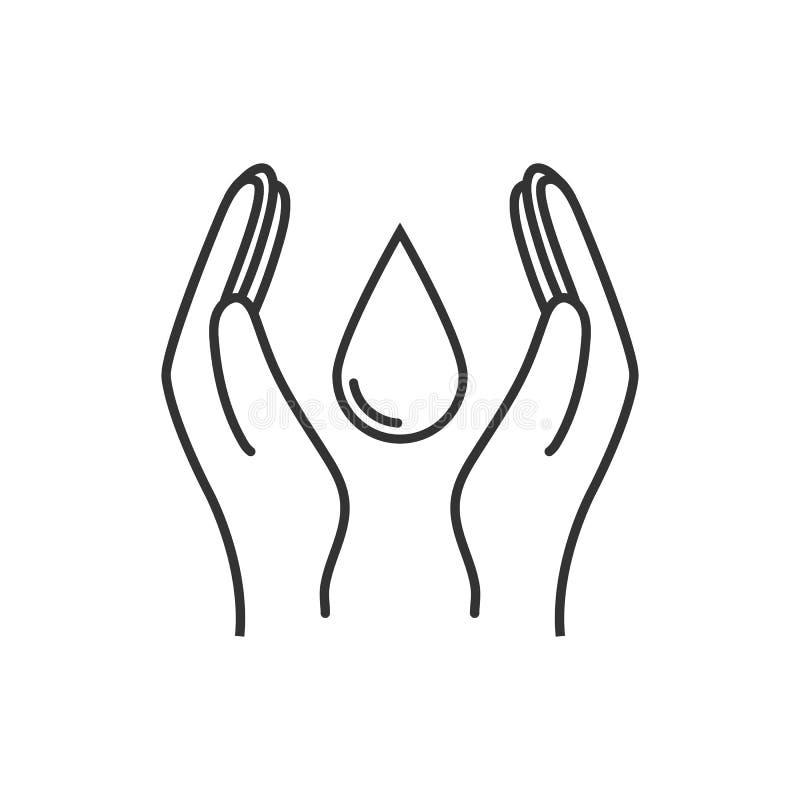 Conservi il segno dell'acqua La mano tiene l'icona della goccia di acqua Illustrazione di vettore, progettazione piana illustrazione di stock