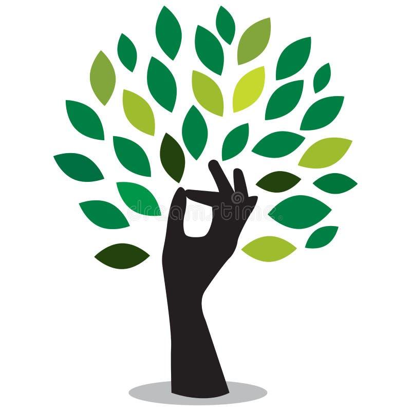 Conservi l'albero, la mano dell'albero, logo della natura di amore illustrazione di stock