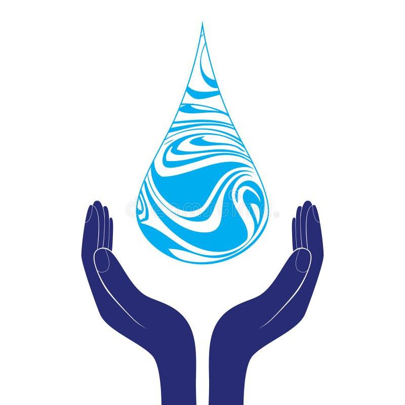 Conservi l'icona del segno dell'acqua La mano tiene il simbolo della goccia di acqua Simbolo di protezione dell'ambiente Vettore illustrazione di stock