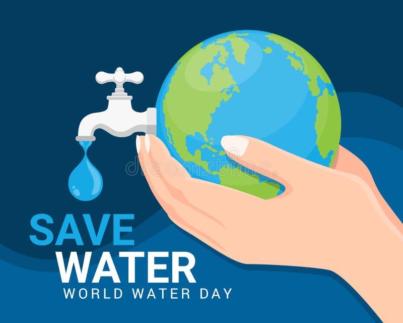 Conservi l'insegna del giorno dell'acqua del mondo dell'acqua - rubinetto della terra e del rubinetto o di acqua della tenuta del royalty illustrazione gratis