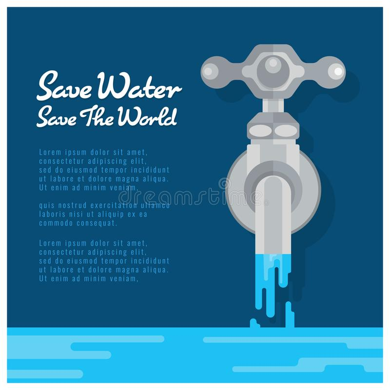 Conservi l'insegna del mondo di risparmi dell'acqua con il rubinetto di acqua sono progettazione di vettore dell'open water illustrazione vettoriale