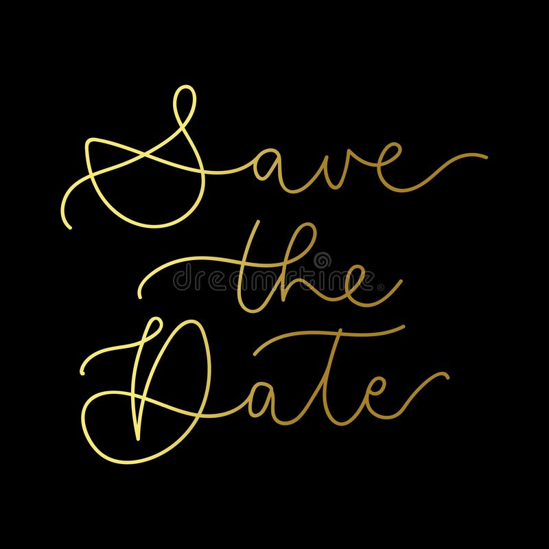 Conservi l'iscrizione d'iscrizione dorata di lusso della data Invito elegante di cerimonia nuziale Illustrazione di vettore royalty illustrazione gratis
