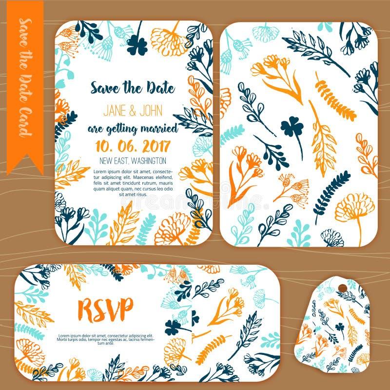 Conservi la carta d'annata rustica della data, l'invito di nozze con iscrizione disegnata a mano, i fiori ed i rami con la carta  illustrazione di stock