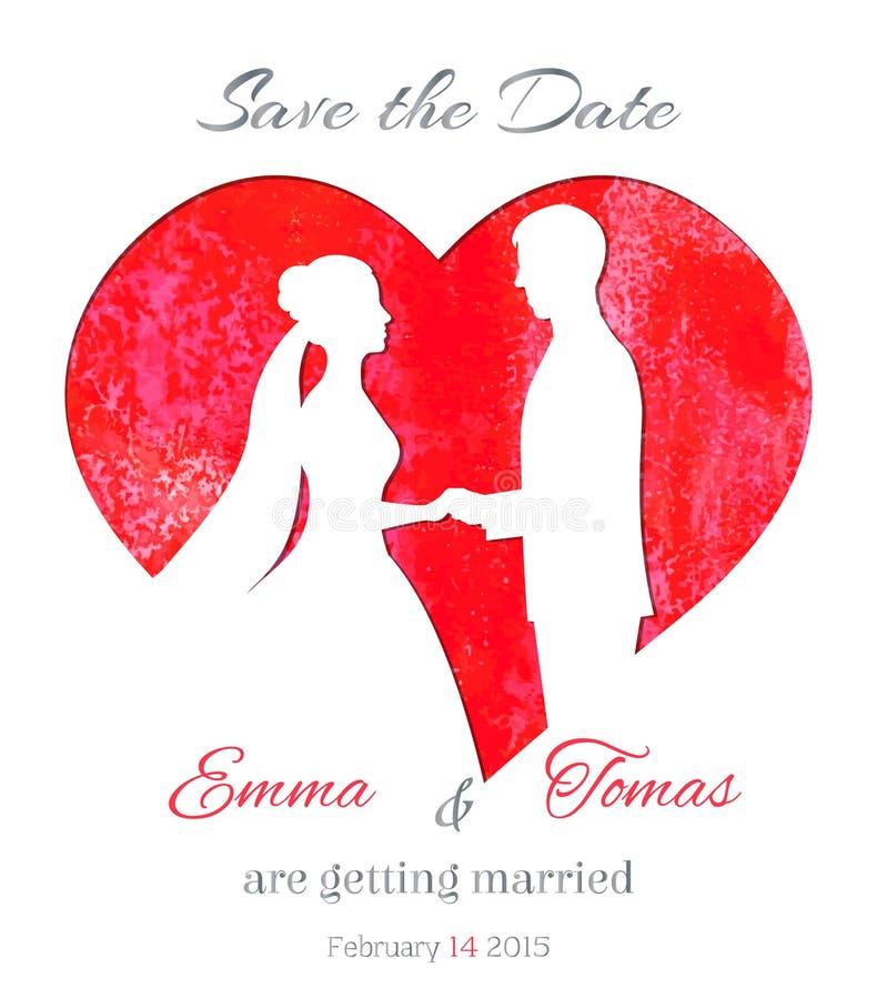 Conservi la carta dell'invito della data con il cuore dell'acquerello e la siluetta di una sposa e di uno sposo illustrazione di stock