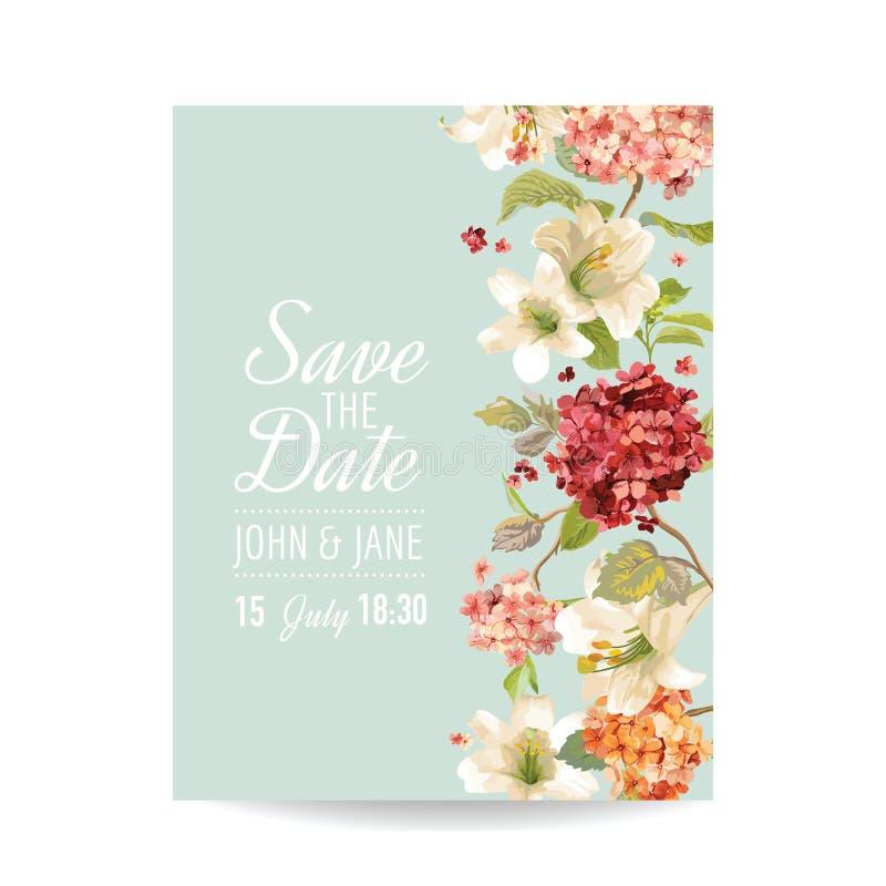 Conservi la carta di data con Autumn Vintage Hortensia Flowers per nozze, l'invito, partito illustrazione di stock