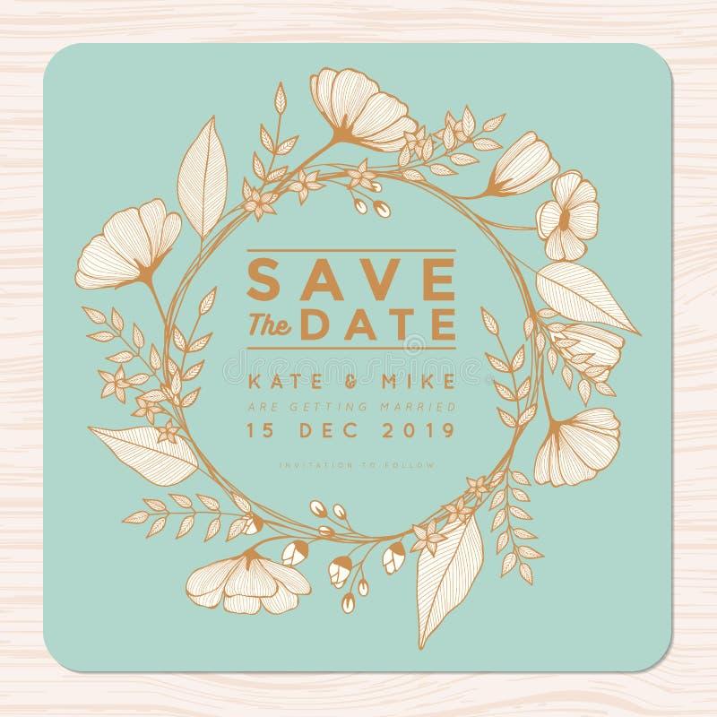Conservi la data, carta dell'invito di nozze con il modello del fondo della corona del fiore nel colore dorato Fondo floreale del royalty illustrazione gratis