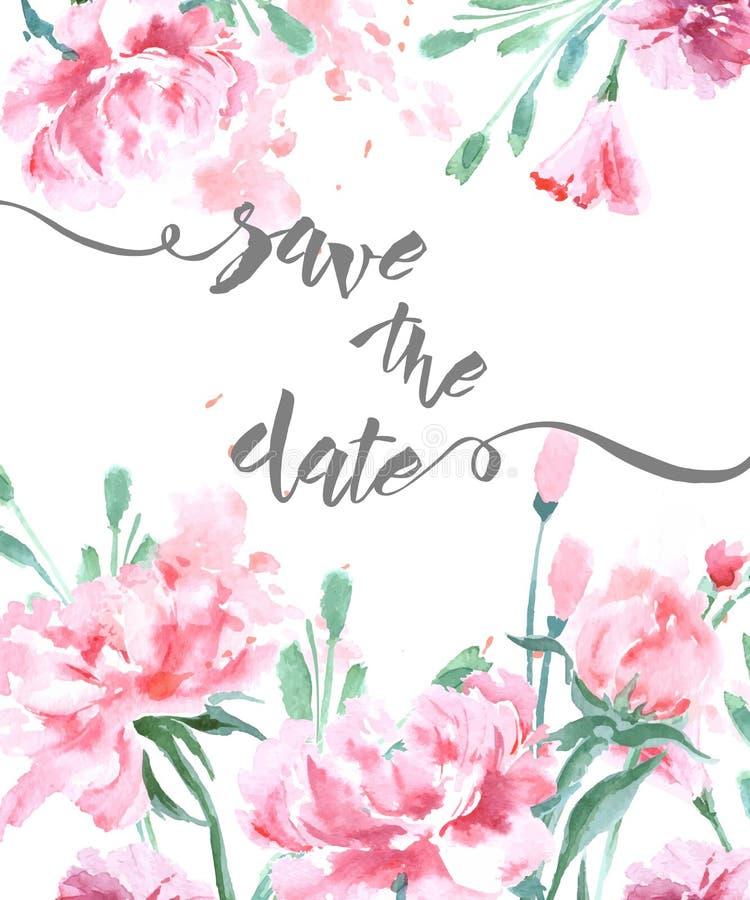 Conservi la data con le peonie di un acquerello Uso della carta dell'invito di nozze per il passaggio di imbarco, inviti, tVector illustrazione di stock