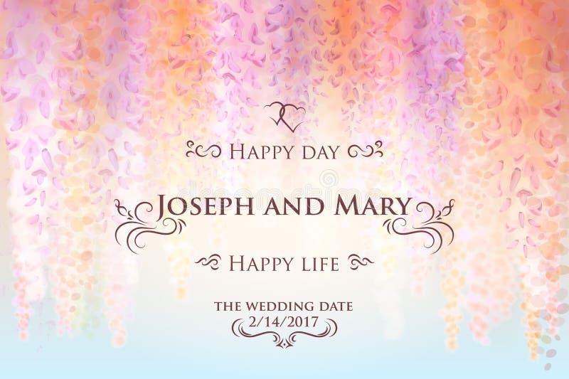 Conservi la data, modello della carta dell'invito di nozze con i fiori delicati delle glicine di fioritura, fondo floreale Vettor illustrazione di stock