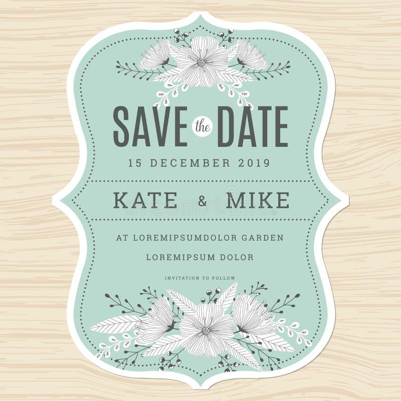 Conservi la data, modello della carta dell'invito di nozze con il fondo floreale del fiore disegnato a mano nel colore verde dell illustrazione vettoriale