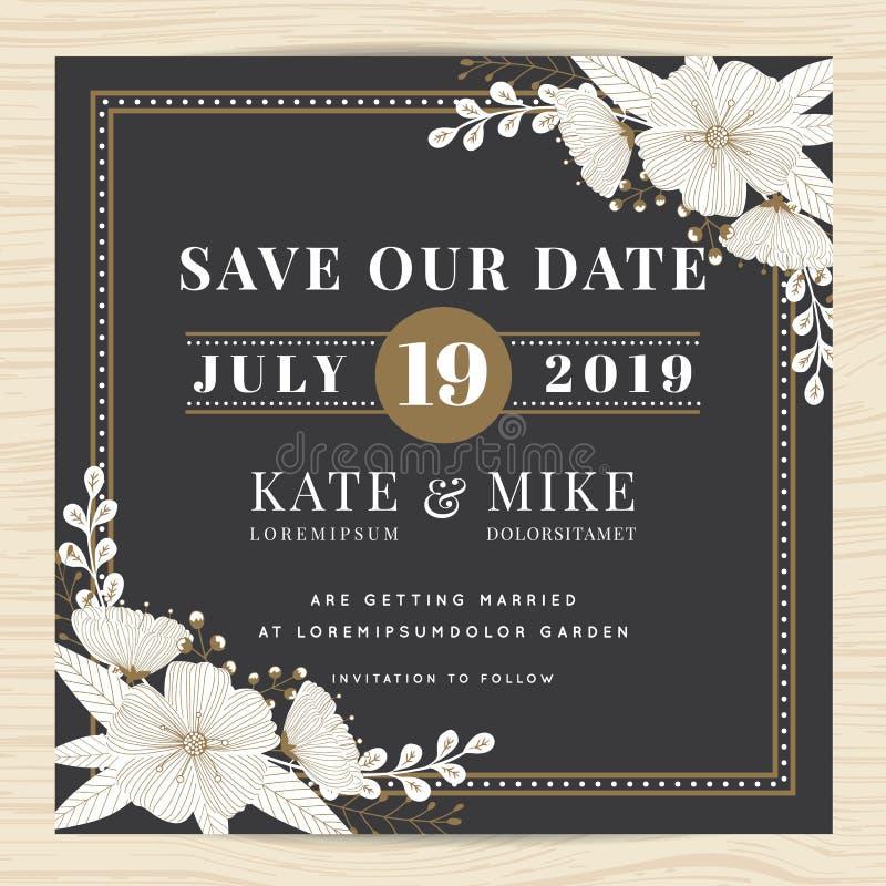 Conservi la data, modello della carta dell'invito di nozze con il fondo floreale del fiore disegnato a mano Stile dell'annata illustrazione vettoriale