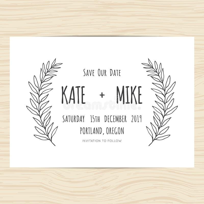 Conservi la data, modello della carta dell'invito di nozze con il ramo disegnato a mano e le foglie si avvolgono Progettazione mi royalty illustrazione gratis
