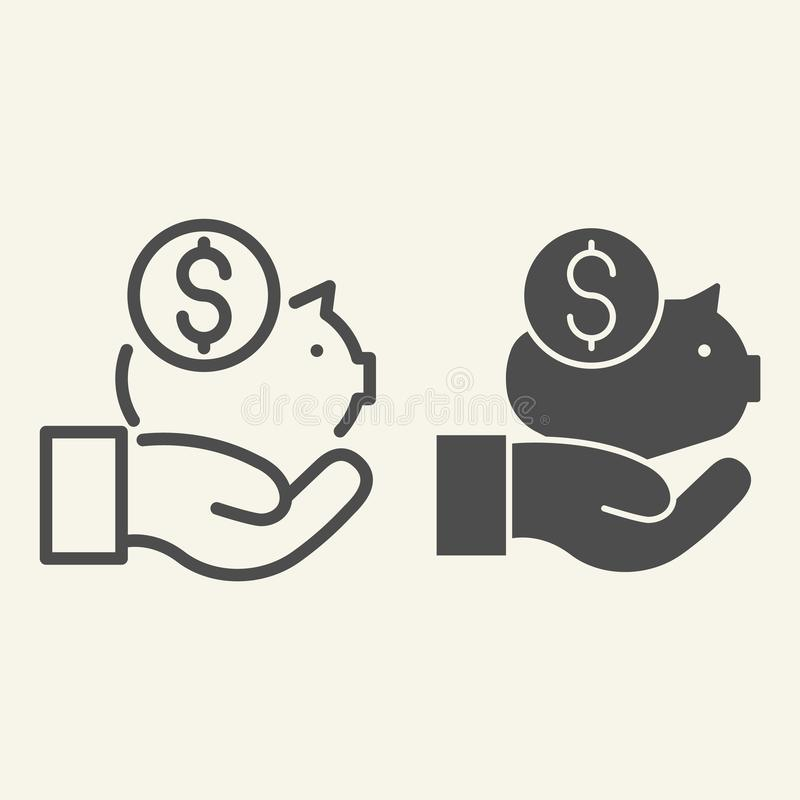 Conservi la linea dei soldi e l'icona di glifo Illustrazione di vettore di risparmio isolata su bianco Progettazione disponibila  illustrazione di stock