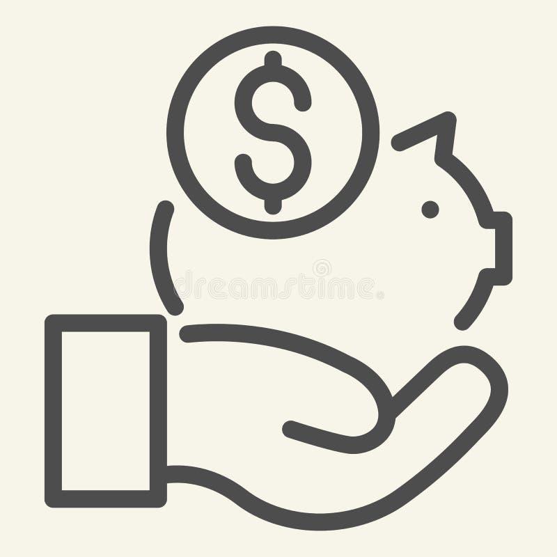 Conservi la linea icona dei soldi Illustrazione di vettore di risparmio isolata su bianco Progettazione disponibila di stile del  royalty illustrazione gratis