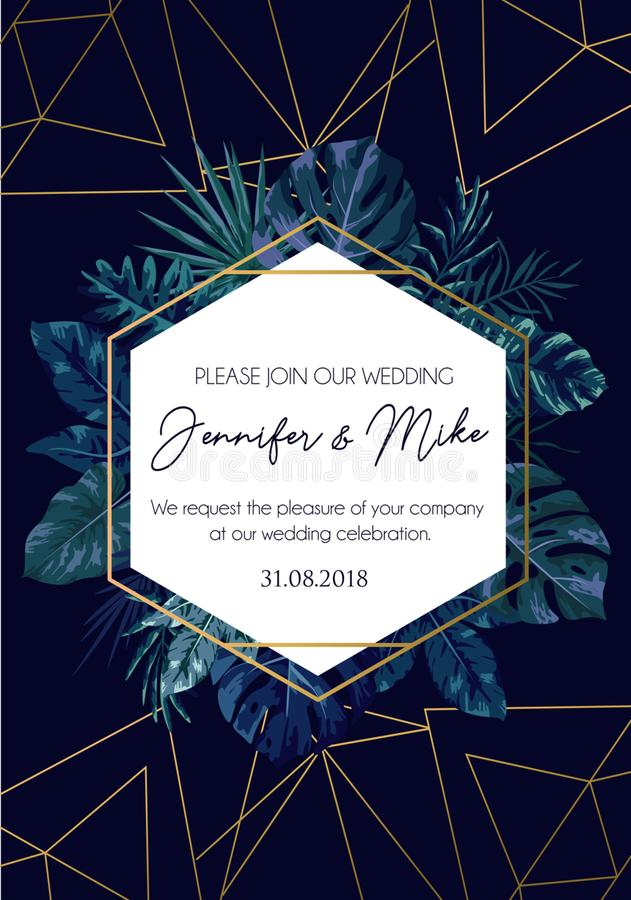 Conservi la nostra progettazione dell'invito di nozze della data Modello di eleganza per la e illustrazione vettoriale