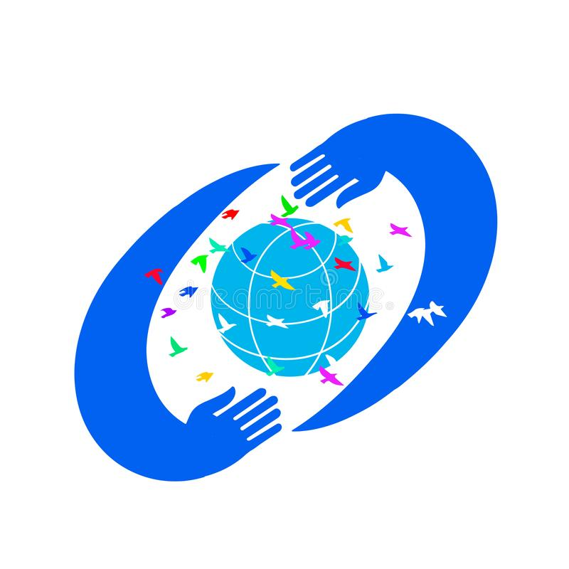 Conservi la progettazione di logo del mondo Mani che tengono il globo con gli uccelli, illustrazione della terra royalty illustrazione gratis