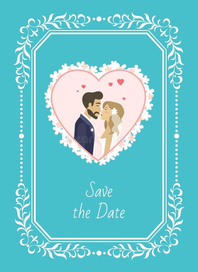 Conservi la sposa della data e lo sposo Wedding Invitation illustrazione vettoriale