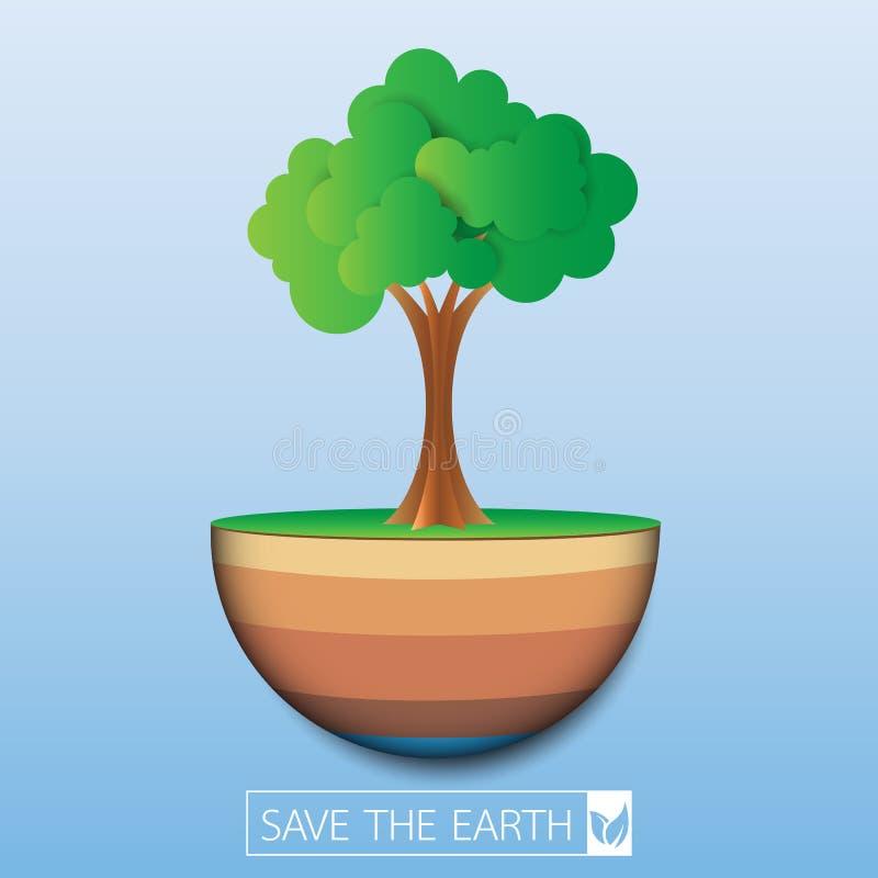 Conservi la terra di eco illustrazione vettoriale