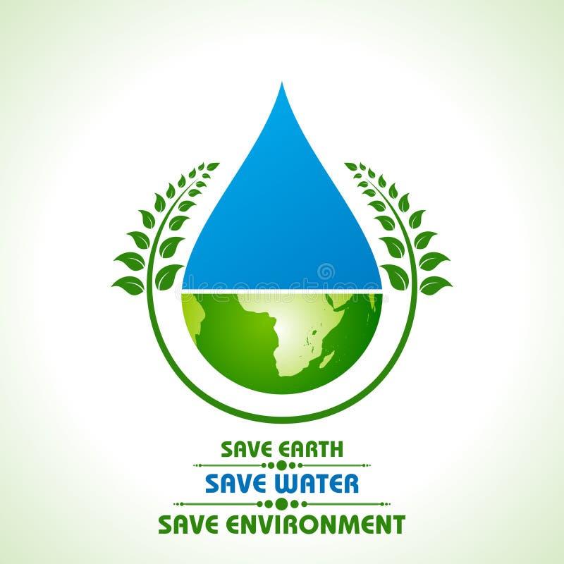 Conservi la terra, l'acqua ed il concetto dell'ambiente illustrazione vettoriale