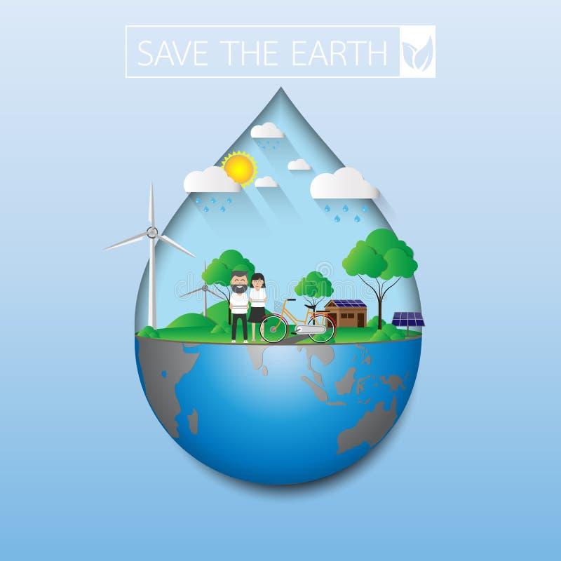 Conservi la terra verde royalty illustrazione gratis