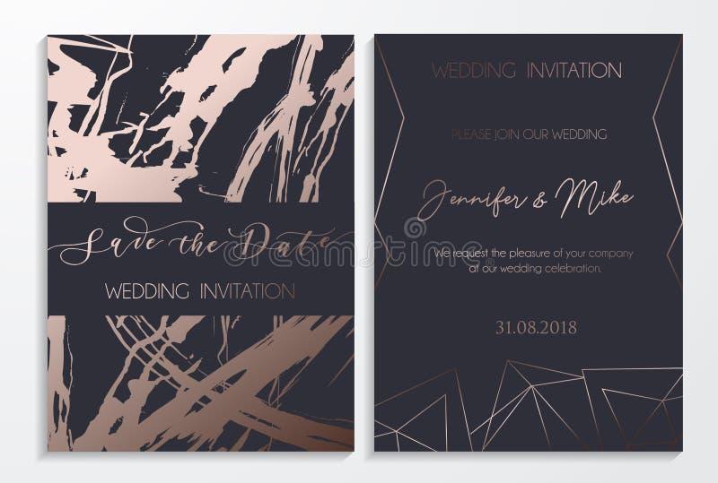 Conservi le carte dell'invito di nozze della data su buio e sul testo del platino royalty illustrazione gratis