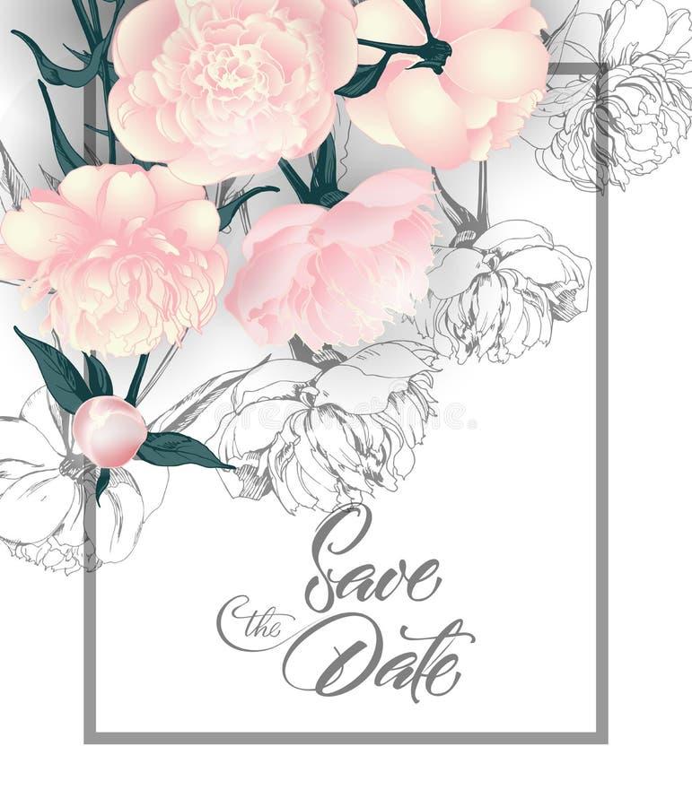 Conservi le carte di data con le peonie Può essere usato per l'invito di nozze, il biglietto di auguri per il compleanno, modello illustrazione vettoriale