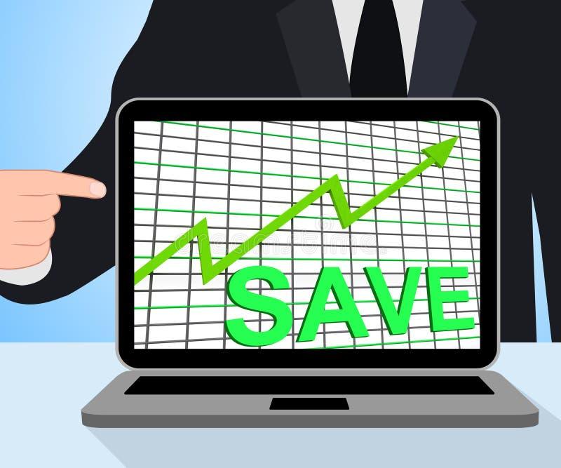 Conservi le esposizioni del grafico del grafico che aumentano l'investimento di risparmio illustrazione vettoriale
