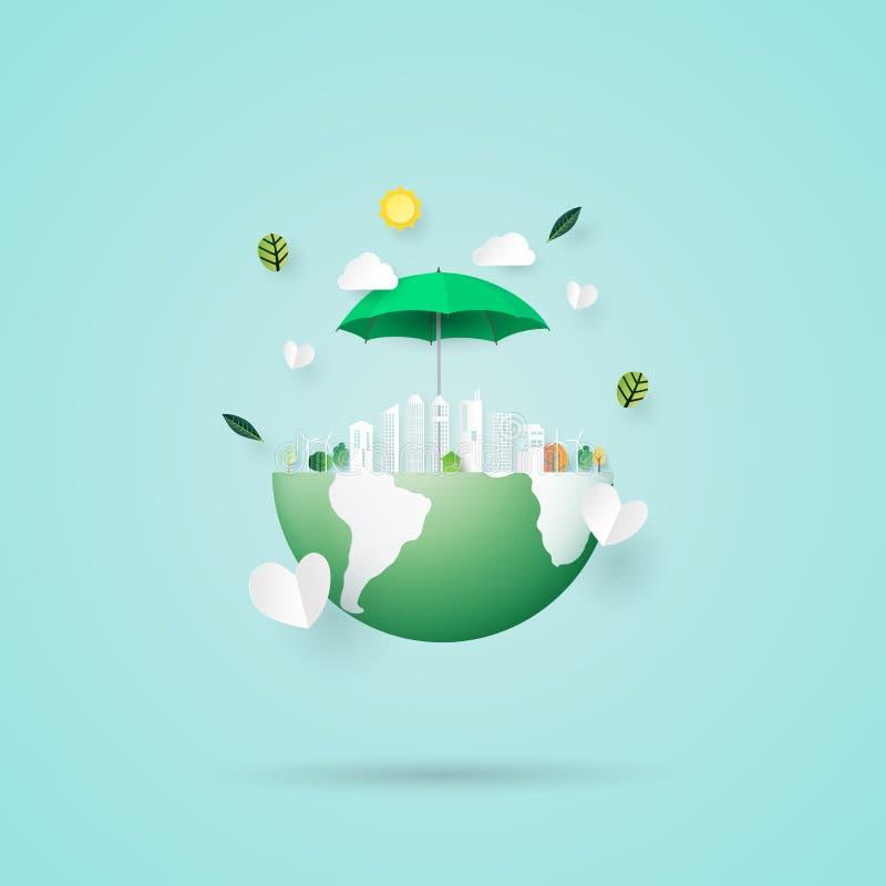 Conservi lo stile di arte della carta di concetto della città di eco e della terra royalty illustrazione gratis