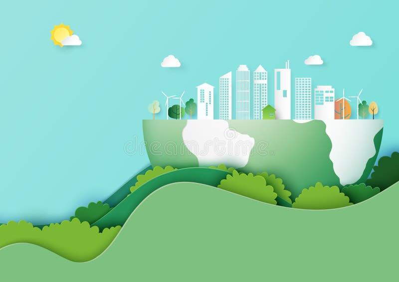 Conservi lo stile di arte della carta di concetto della città di eco e della terra illustrazione di stock