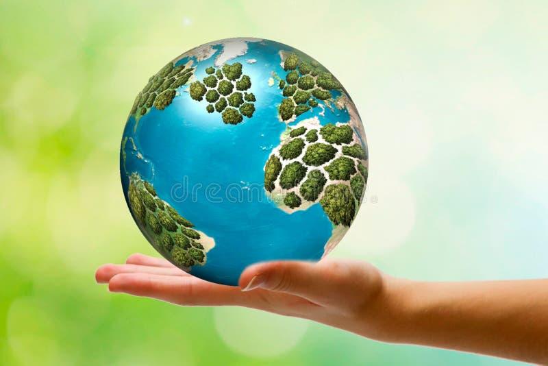 Conserviamo il nostro pianeta Terra Concetto di ecologia Il mondo è in nostre mani fotografia stock