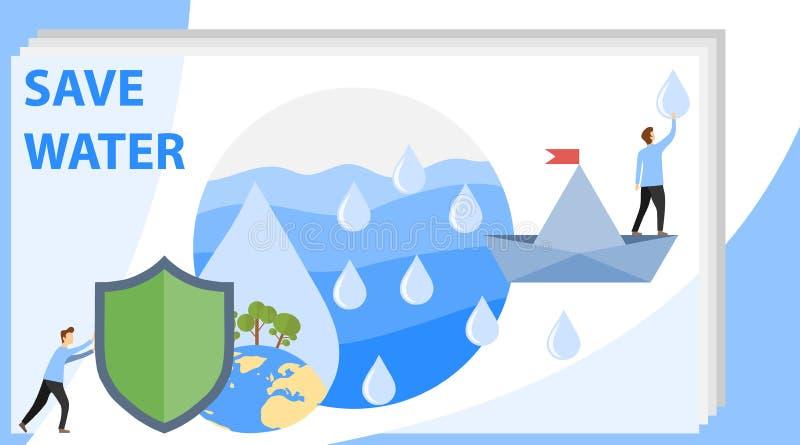Conserviamo l'acqua del pianeta La gente raccoglie le gocce di pioggia e conserva l'acqua sul pianeta Illustrazione di vettore illustrazione di stock