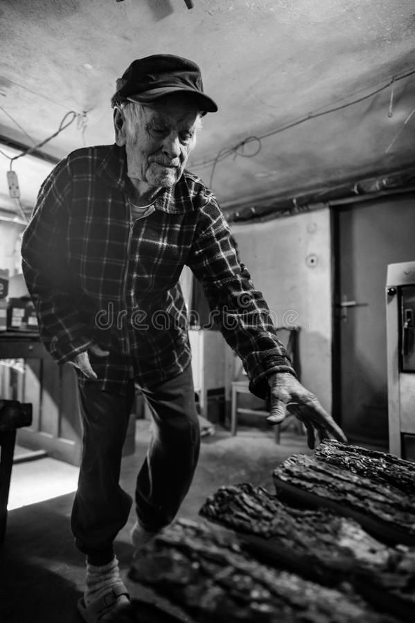 80 consideráveis retrato positivo do homem superior dos anos de idade Imagem completa preto e branco do corpo do homem idoso na s fotografia de stock