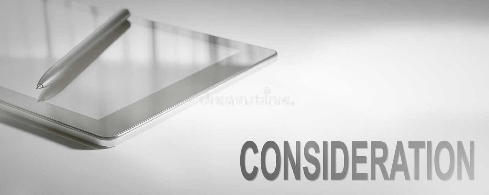 CONSIDERATION Business Concept Digital Technology. Graphic Concept stock photo