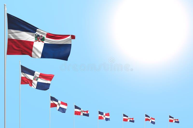 Consideravelmente muitas bandeiras da República Dominicana colocaram diagonal no céu azul com lugar para o texto - toda a ilustra ilustração stock
