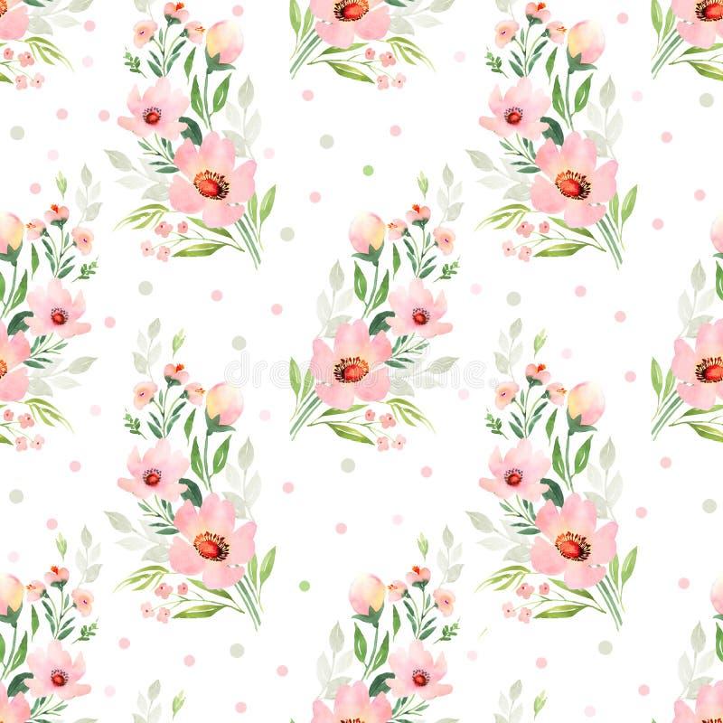 Consideravelmente o rosa floresce o teste padrão sem emenda ilustração royalty free