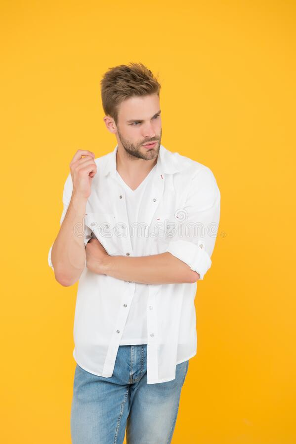 Considered one of greatest references of style. Fashion concept. Man model clothes shop. Feeling comfortable. Menswear. And fashionable clothing. Man handsome stock photos
