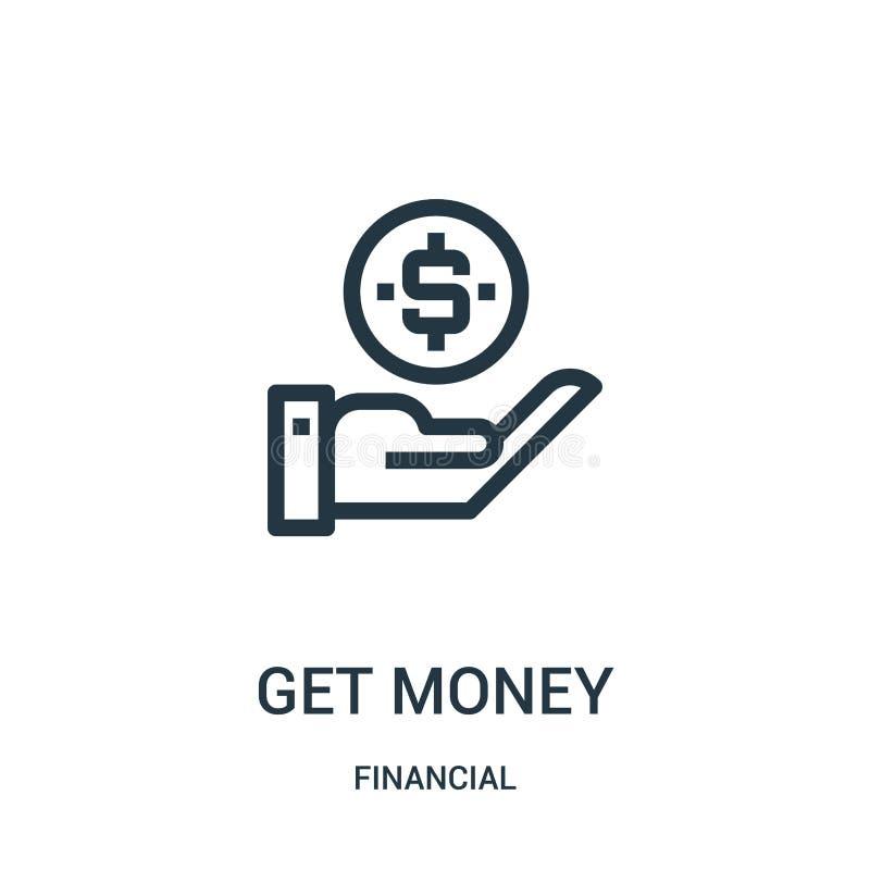 consiga el vector del icono del dinero de la colección financiera La línea fina consigue el ejemplo del vector del icono del esqu stock de ilustración